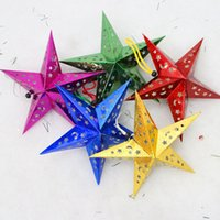 Wholesale Hot Selling Christmas Paper Star Christmas Three dimensional Laser Five pointed Star Santa Xmas Decorations newest