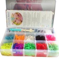 Wholesale Rainbow Loom Bands Kit in lattice Clear Big Plastic Box For Kids DIY Bracelets1705006