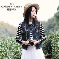 La nuova primavera Garden Party 2015 coreano signora della moda retrò Piccolo Collo manica lunga in bianco e nero maglietta a strisce ragazza