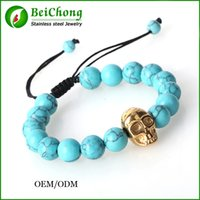 beeswax products - BC Jewelry New Products Natural Stones Weave skull Bead Bracelet Turquoise Beeswax Beads Mens Bracelet BC