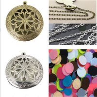 antique brass pendants - 10pcs inch With Chain Pads Round Antique Silver Aromatherapy Lockets Pendants Perfume Essential Oil Diffuser Locket Necklace