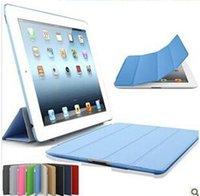 Air en cuir libre France-Les couvercles protecteurs de l'écran de quatre de pli de cuir de PU de couverture élégante colorée de garniture Smart font le sommeil réveil pour l'air 2 20PC de iPad d'air iPad5 libèrent le bateau