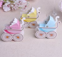 Wholesale 2015 new born Baby s cradle Carriage charm Shower color mix Favor Candy Boxes Wedding Party Gift