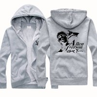 allen iverson jacket - 2016 New Cheap Basketball Allen Iverson Answer Winter Sports Coats Mens Hoodies Sweatshirts Thickening Plus Velvet Jacket Grey Black