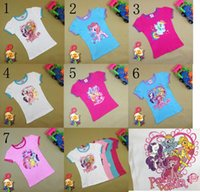 Wholesale 7 Style New design baby girls summer cartoon My little pony t shirts children clothing short sleeve kids t shirts C001