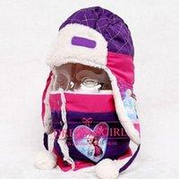 Wholesale New Arrival Frozen Hat Scarf of One Set Children s Warm Winter Velvet Cover Ears Cap Kids Best Gifts Purple Cartoon Hat