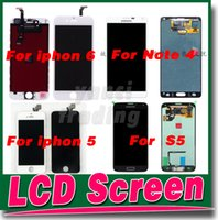 Wholesale Black White LCD Display Touch Screen Digitizer Full Assembly for iPhone plus S C Samsung Note galaxy S5 Replacement Repair Parts