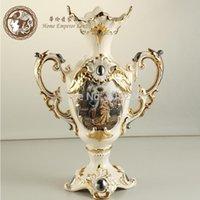 Wholesale Golden winged ceramic vase living room European style home decorations ornaments wedding gifts large vase