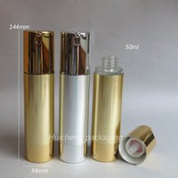 airless pump sprayer - High Quality ml Aluminum Airless Pump lotion bottle with gold or silver cap
