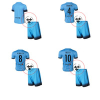 Wholesale 2016 Football Jerseys Soccer Uniforms Messi Blue Third Away Full Sets Football Shirts Shorts Good Quality Camisetas De Futbol