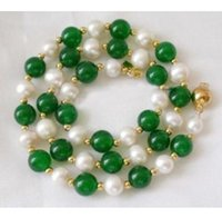 akoya natural pearl beads - 7 mm Natural White Akoya Pearl Green Jade Round Beads Necklace quot