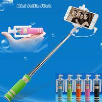 Wholesale 2015 new Shortest Pocket Folding Selfie stick wired monopods selfie monopod Supr Mini Selfie Stick With Cable Portable Wired Monopod ZX S