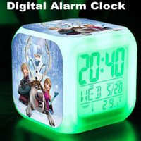 Wholesale DHL Frozen Alarm Clocks LED Change Digital Alarm Clock frozen Anna and Elsa Thermometer Night Colorful Glowing toys OM XL5