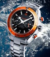Wholesale Luxury New James Bond Automatic Black Dial Orange Bezel Stainless Bracelet High Quality Mens Watch Men Sport Watches