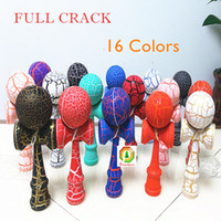Wholesale 18 cm big Full Crack Kendama Ball Toy painting beech Wood Japanese Traditional Funny Sword ball Game Education Toy colors Christmas gift