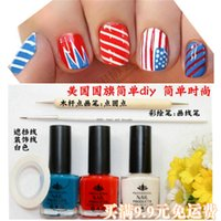 american flag pens - Nail set American flag simple diy simple stylish French polish point pen brush painting