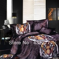 bedding for men comforter sets - d oil painting tiger animal black bedding sets for boys men polyester reversible duvet cover flat sheet comforter bed set queen