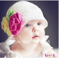 beautiful baby wool hat - Baby Caps Infant Baby Hat handmade wool hat Beautiful white flowers two flowers