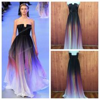 chiffon fabric - 2015 Elie saab Backless Evening Dresses Black Colorful Dyed fabric Chiffon Pleated Floor Lenght Cheap Formal Prom Party Runaway Dress