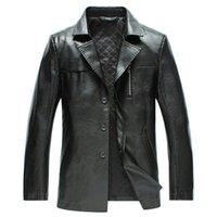 Wholesale Fall Men Genuine leather Suit Style coat Men s Autumn famous brand Genuine leather jacket Men s Fashion Lapel coat M XL colors