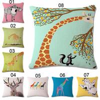 "Cheap 8 Typle Sofa Bed Home Decoration Pillowcases Cushion Cover Cartoon Deer Elk Animals Cushion Case Pillow Cover For Seat Car 18"""