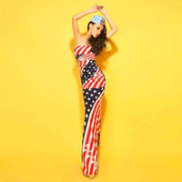 american flag gown - New summer woman European and American fashion sexy stars flag stripe dress fishtail dress that wipe a bosom night gown