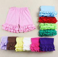 Pantalon court d'été Prix-2015 Nouveaux 100% coton Filles Froncé short été short Enfant fille shorts de pantalons courts pour les filles de bébé 1-8T