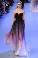 Cheap 2015 Elie Saab Ombre Pleats Prom Dresses A-Line Strapless Sleeveless Evening Gowns Formal Dress cocktail