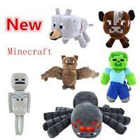toys - 17 Styles New Minecraft plush toy dolls minecraft stuffed toys spider skeleton wolf bat zombie brown cow kids birthday gifts C001