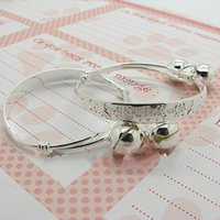 baby bangle bracelets engraved - pairs Silver Plated Chinese Letter Style Baby Kid Children s Engraved Engraved Bangle Bracelet with Bell charms