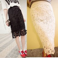 Wholesale Summer Vintage Luxury Hollow Lace Skirt Best Women Ladies Girls Sexy Korean Package hip Slim bodycon gown Skirt Women Clothes White Black