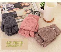 Wholesale 2016 Fashion Women Colored Hand Wrist Winter Fingerless Gloves Mittens Lovely Warm Girls Gloves