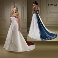 Wholesale Custom made FW5508 Floor Length New Arrival Satin Embroidery A Line White And Red Wedding Dress