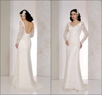 Wholesale Vintage Wedding Dresses With Long Sleeve Illusion V Neck Winter Open Back Backless Sheer Lace Chapel Train Bridal Gown Ball Custom Made