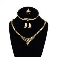 Wholesale Good Quality QueenWinner western Accessories Wedding Africa Jewelry Set K Gold Plated Crystal Vintage Earing Bracelet Necklace Ring H0408