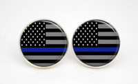 american flag glass - 10pairs Thin Blue Line earrings American Flag Glass photo earrings stud post
