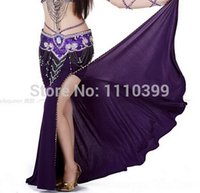 belly dance without dress - 9Colors Fashion Sexy belly dance Costume belly dance skirt with slit skirt indian dress bollywood dance costumes Without Belt