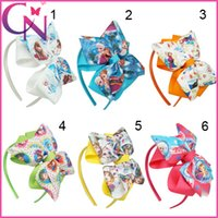 character ribbon - Girls Cute Frozen Hairband Grosgrain Ribbon Hair Bows Hair Bands For Baby Boutique Hairbands Hair Accessories CNHB
