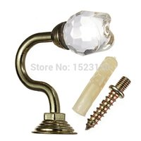 Wholesale 2pcs set Rose Metal Crystal Curtain Hanger Hook Wall Hook Curtain Buckle Rustic Curtain Clip