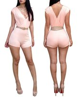 sumer sexy achat en gros de-Amazing 2015 Sumer Women Nightclub Sexy Fashion Vêtements Bandage Pink Playsuit Rompers Sexy V-neck Jumpsuit