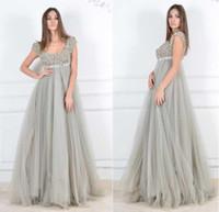 Wholesale 2015 Plus Size Evening Dresses Beaded Lace Scoop Neck Cap Sleeve A Line Floor length Tulle Pregnant Dress