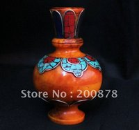amber vases - HDC0720 Tibetan decor arts Beeswax amber vase mm brass inlaid amber Teapot Resale