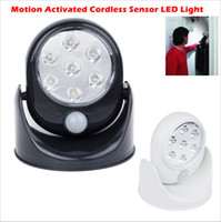 Wholesale 2016 New Motion Activated Cordless Sensor LED Light Indoor Outdoor Garden Patio Wall Shed With White Black Body led bulb led wa