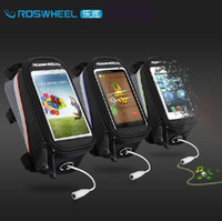 Wholesale ROSWHEEL Waterproof quot quot quot Bike bag top tube Bicycle bag Cycling Frame Tube Panniers Touchscreen Phone Case Reflective Colors