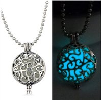 copper alloy - Vintage Can Open Locket Pendant Necklace Copper Hollow Flowers Essential Oil Diffuser Necklaces Aromatherapy Pendants Jewelry Gift Noctiluce