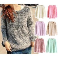 Wholesale sueter mujer winter women jumpers knitted sweater candy colored sweet imitated mohair pullover tapados de mujer invierno