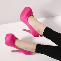 Taille 34 talon rose Avis-12cm Nouvelle plate-forme arrière de strass chaussures de mariage à talons hauts bal rose chaussures chaussures habillées de robe les femmes de bureau Taille 34 à 39