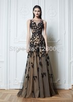 bamboo net - Bateau A Line Applique Floor Length Net Black Lace Formal Evening Dresses Long Prom Dresses Gown