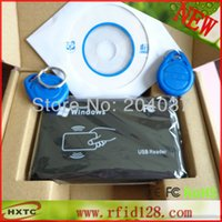 Wholesale 125KHZ RFID ID CardReader Writer Copier Duplicater For Access Control EM4203 T5557 Tags DEMO Software CD FreeShipping A5