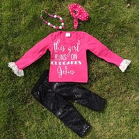 boutique clothing - girls fall outfits gold print boutique suit girls pant sets girls hot pink clothes kids long sleeve sets necklace and headband